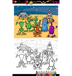 Cartoon ufo aliens group coloring page vector