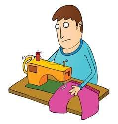 Man sewing vector