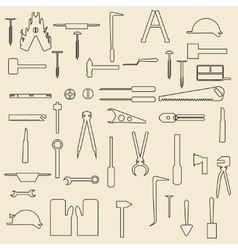 Construction tools linear icons vector