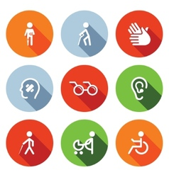 Disability flat icons set vector