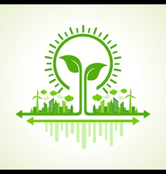 Ecology concept - eco cityscape with leaf and bulb vector
