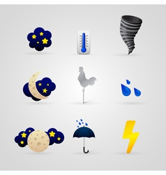 Set of different color weather icons vector