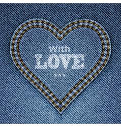 Blue jeans heart vector