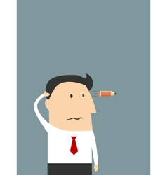 Tired cartoon businessman showing suicide gesture vector