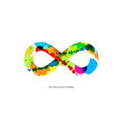 Colorful abstract splash infinity symbol on white vector