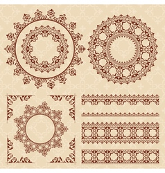 Brown vintage ornaments and frames vector