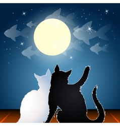 Dreaming cats on a roof vector