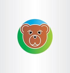 Cute sad bear head icon vector