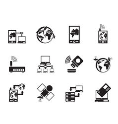 Silhouette communication and mobile phone icons vector