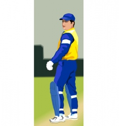 Batsman on pitch vector