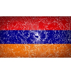 Flags armenia with broken glass texture vector