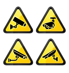 Cctv triangular labels set symbol security camera vector