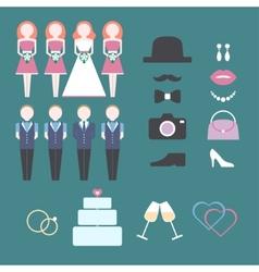Vintage wedding set of design elements vector