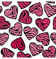 Zebra print pink hearts vector