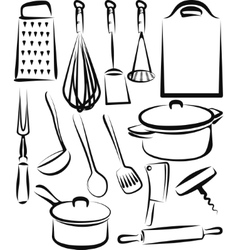 With a set of kitchen utensil vector