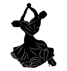Silhouette of dancing couple vector