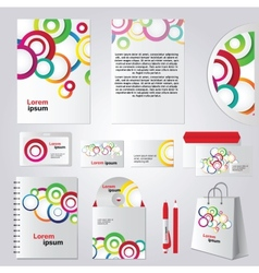 Colorful circle corporate identity template design vector