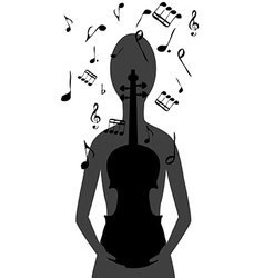 Stylized woman with violin and musical notes vector