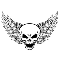 Skull with angel wings vector