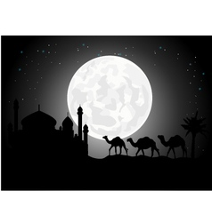 Silhouette of camel trip in the night vector