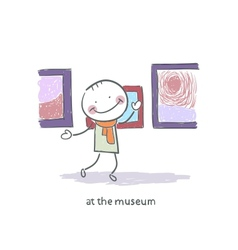 Man at the museum vector