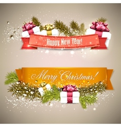 Set of ribbons labels tags merry christmas and vector