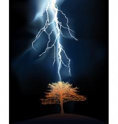 Lightning strikes tree vector