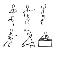Stick human figures set vector
