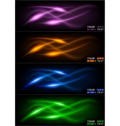 Set of dark glowing wavers vector
