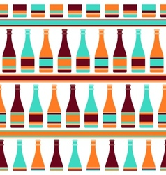 Seamless pattern with bottles of champagne in vector