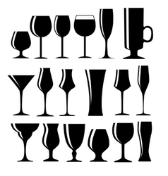 Set of black alcoholic glass silhouette vector