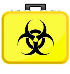 Bag with biohazard symbol vector