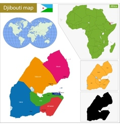 Djibouti map vector