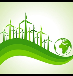 Ecology concept - wind mill with earth vector
