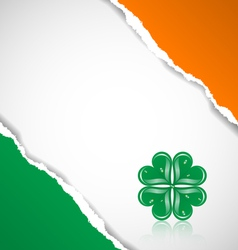 Irish flag background with clover vector