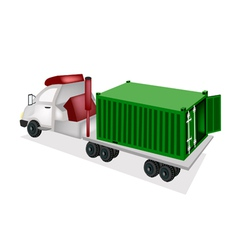 A container truck delivering a cargo container vector