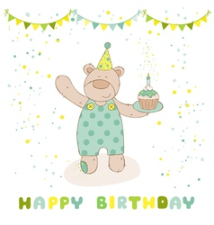 Happy birthday and party card - baby bear vector