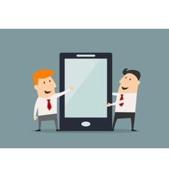 Cartoon businessmen with huge smartphone in flat vector