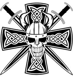 Celtic cross and skull vector