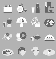 Bakery and drinks icon on gray background vector