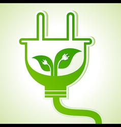 Ecology concept - leaf with electric plug vector