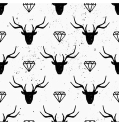 Deer heads and diamonds abstract seamless pattern vector