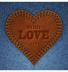 Leather heart on jeans vector