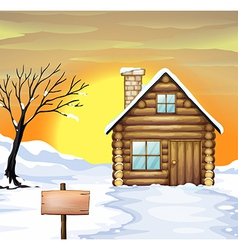 Log cabin and dead tree vector
