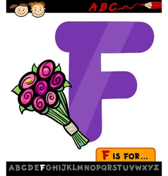 Letter f with flowers cartoon vector