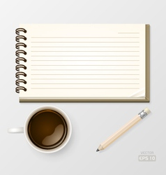 Coffee with notebook and pencil vector