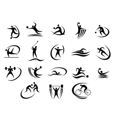 Black silhouette stylized athletes set vector