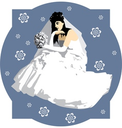 Bride with a bouquet of flowers vector