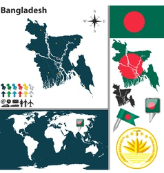Bangladesh map world vector
