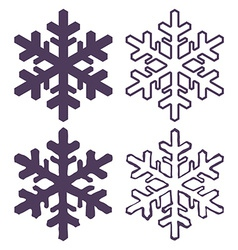 Set of four snowflakes thin line ftat design vector